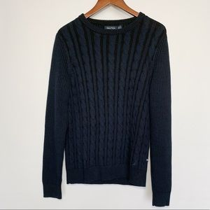 Nautica Cable Knit Black Navy Blue Sweater